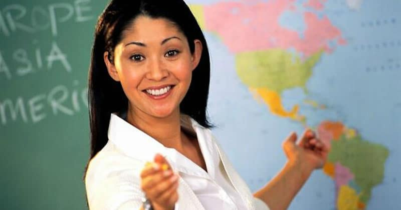 Happy geography teacher