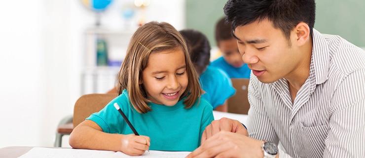 Teacher managing a class.